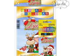 Kit Colorir Pocket C/ Giz De Cera Natal