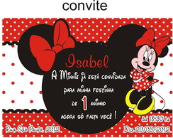 Convite Minnie 10x7cm + Envelope + Tag