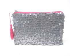 Mini Clutch Paetês Prata