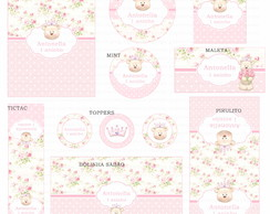 Kit digital Ursinha Princesa Floral rosa