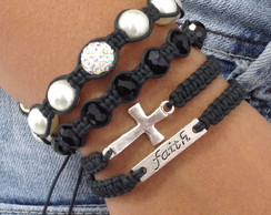 Kit Pulseiras Faith (fé) E Crucifixo