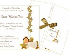 Convite Batizado Dourado Elo7