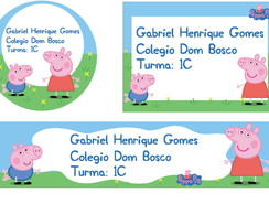 Etiqueta Escolar Digital Peppa e George