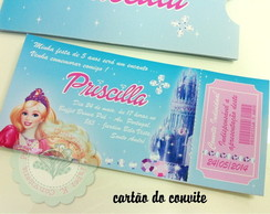 Convite Ticket Barbie Castelo Diamante