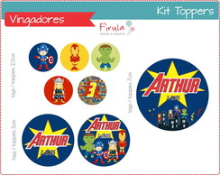 Kit Toppers / Tags Vingadores