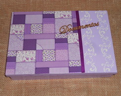 Caixa de Documento - Patchwork lilas
