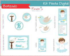 Kit Festa Digital Batizado Azul
