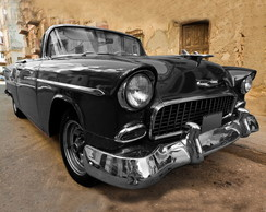 QUADRO VINTAGE - BLACK CAR - (45 X 45)