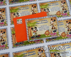 Convite 10x15 Minnie e Mickey no Safari
