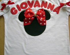 camiseta minnie em patchaplique 3d