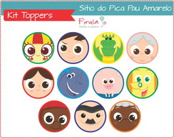 Kit Toppers/Tags Sítio Pica Pau Amarelo
