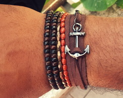 Mix De Pulseira Ancora Nautica Brown