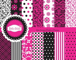 Kit Papel Digital Festa Pink e Preto