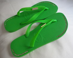 Havaiana Top verde néon customizada