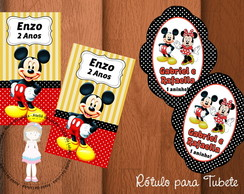 "Rótulo tubete ""Mickey e Minnie"""