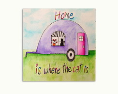 Quadro Decorativo Home Is Where The Cat