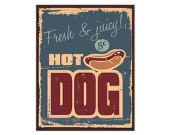 Placa Mdf Retrô Fresh Hot Dog - 754