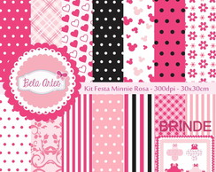 Kit Papel Digital Festa Minnie Rosa + F