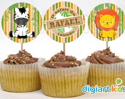 Topper para Cupcake Floresta - Safari