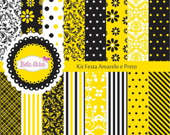 Kit Papel Digital Festa Amarelo e Preto
