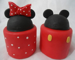 Mini bolo em biscuit Mickey e Minnie