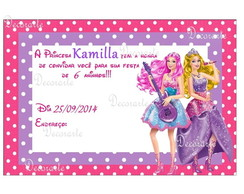 Convite 10x15 cm Barbie Pop Star