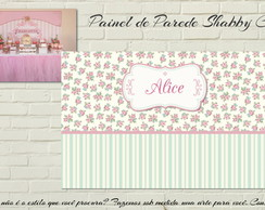 Painel Shabby Chic FLORAL PARTY impresso