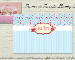 Painel IMPRESSO Shabby Chic Floral Azul
