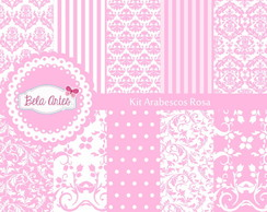 Kit Papel Digital Arabescos Rosa