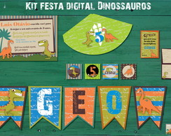 Dinossauro Vintage Kit festa Digital