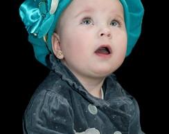 ... Boina Infantil azul tiffany com Flor 7b5c107ea41