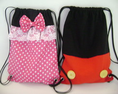 mochila minnie rosa e mickey