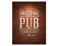 Placa Mdf Retrô Pub Cask Beer -776