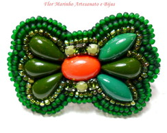 Broche Bordado Laço *Verde*