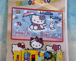 Revista Hello Kitty com giz de cera