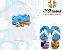 Kit fundo do mar - Camiseta+chinelo