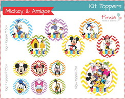 Kit Digital Toppers Mickey & Amigos