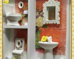 Quadro Cenario Lavabo Orange Flowers