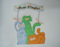 Placa Trio de Gatos