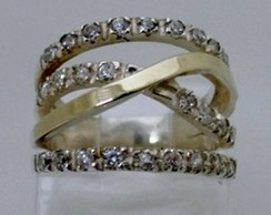 Anel em Prata 925 com Zirconia e Filete em Ouro   Elo7 72023b57d9