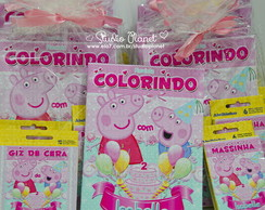 Kit colorir Peppa Pig c/ giz e massinha