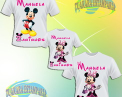 Kit 3 Camisetas - Minnie rosa
