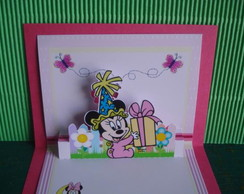 Convite Minnie Baby mini pop-up