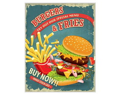 Placa Mdf Burgers & Fries -782