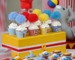 Set 50 Toppers Pompom Tule Decor Cupcake