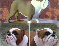 Bulldogue Ingles de Papel mache