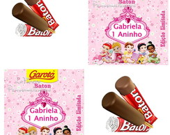 Rotulo Chocolate Baton Princesas Baby