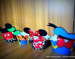 Whapper cupcake com tag Turma do Mickey