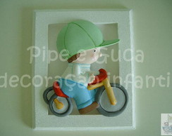 (DO 0015) Quadro decor menino bicicleta