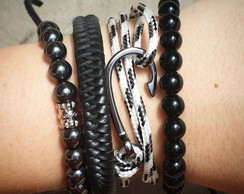 Kit pulseiras Anzol black and white